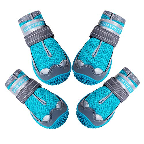 QUMY Dog Shoes for Hot Pavement Boots for Dogs Summer Booties Heat Protection Mesh Breathable Nonslip with Reflective and Adjustable Straps 4PCS/Set