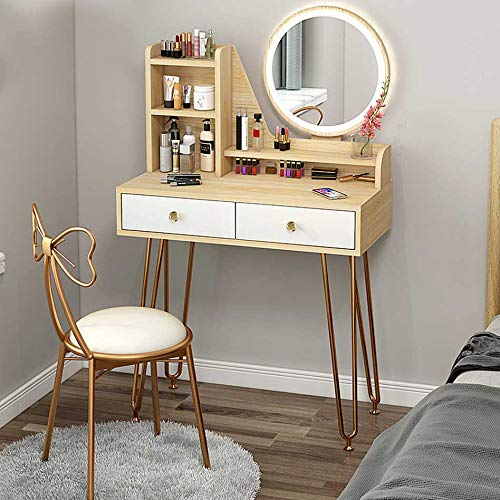 Schminktisch Set LED-Leuchten Spiegel Make-up Tisch mit Schubladen Moderner Mädchen Schminktisch für Ankleidezimmer Schlafzimmer mit gepolstertem Hocker