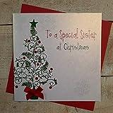 White Cotton Cards To a Special Sister Tarjeta de Navidad Hecha a Mano en Forma de árbol
