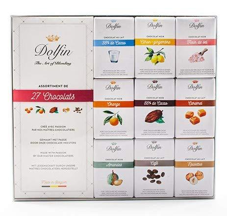 Dolfin Surtido de 27 mini tabletas de chocolate con flor de sal, caramelo, limón y jengibre, naranja, almendras, café, avellanas, 1 x 270 gramos