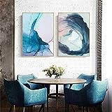 ganlanshu Pintura sin Marco Abstracto Colorido Flores Azules Lienzo nórdico Pintura Arte de la Pared póster decoración del hogar Sala de estarZGQ3998 40X60cmx2