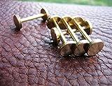 CHENGYIDA 10 piezas (latón macizo) de cabeza plana de botón largo clavos, tachuelas de clavo, tornillos Chicago tornillo remache de clavo para artesanía en cuero DIY bolso de mano