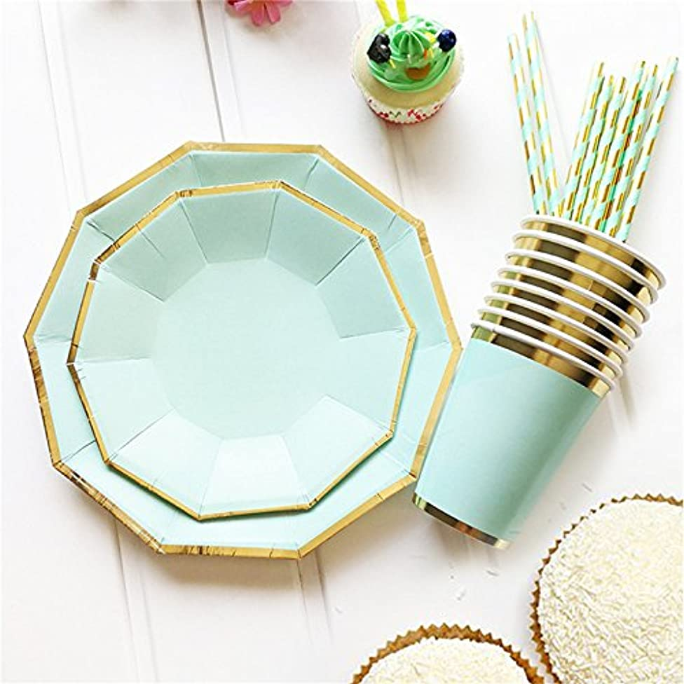 49pcs/lot Paper Dinnerware Set Disposable Plates and Cups Paper Straws for Wedding Birthday Party Decorative Tableware Xiaolanwelc (Mint Green)