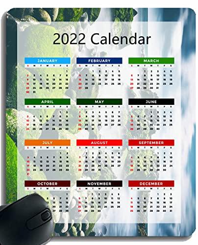 2022 Calendar Mouse Pad,Green Leaf Stones Bamboo Non-Slip Rubber Base Mousepad