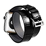 Ribivaul Leather Watch Bands Compatible with Apple Watch 38mm/40mm Double Tour Crocodile iwatch Strap Replacement Band with Stainless Steel Adapter Clasp for Series 4/3/2/1 (Black, 38mm/40mm)
