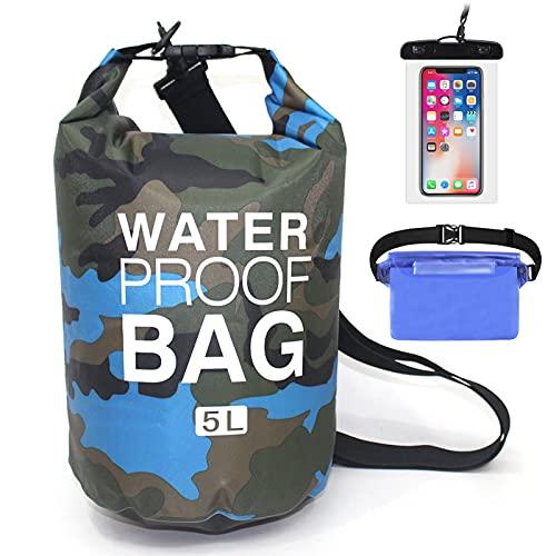 HshDUti Mochila impermeable portátil para hombres y mujeres, camuflaje de poliéster, ligera, bolsa flotante, mochila plegable, bolsa seca para camping, kayak, natación