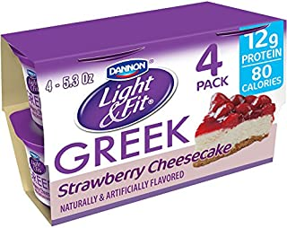 Dannon Light & Fit Original Greek Nonfat Yogurt, Strawberry Cheesecake, 5.3 Ounce (4 Pack) Greek Yogurt Cups