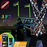 Boomersun 3ft LED Whip Lights, 2PCS Bluetooth Spiral RGB LED Whip with RF Remote Control USA Flag, RGB Dancing/Chasing Light Antenna Light for UTV ATV RZR Can-Am Truck 4 Wheeler Dune Buggy