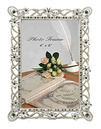 L&T Metal Picture Frame Silver Plated with Pearly White Flowers and Crystals  for 4 x 6 Inch Photo