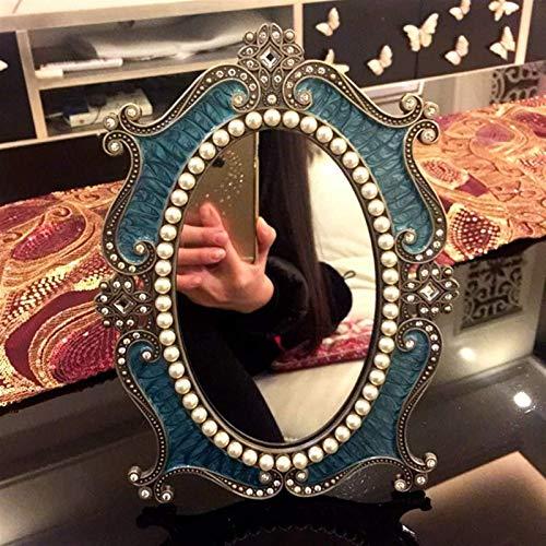 YGCBL Espejo de Pared, Espejos Maquillaje Ovalado Vintage Estilo Europeo Material de Metal Dormitorio Escritorio Hd Cosmetología Princesa Tablero de Mesa, Espejos de Baño Montado en la Pared,10 Pulga