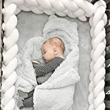 SDFR Trenzada A Mano Cuna Choques, Protector De Cuna, Tope De Cuna, Protección Envolvente 100 Algodón, Protector Dormir para Cama, Cojín Cuna Punto para Guardería, para Recién Nacidos, Bebés, Niños