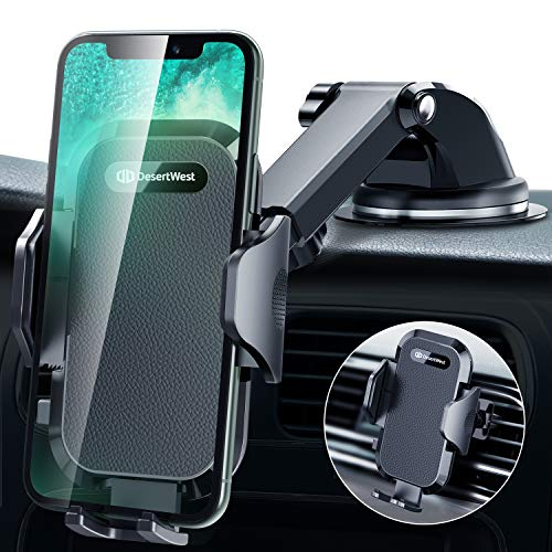 DesertWest Car Phone Holder Mount Enhanced 2020 Dashboard Car Mount Stand Strongest Windshield Air Vent Fit with iPhone 12 SE 11 Max Pro X XS Max XR 8 7, Samsung Galaxy S20 S10 S10+ S10e All Phones