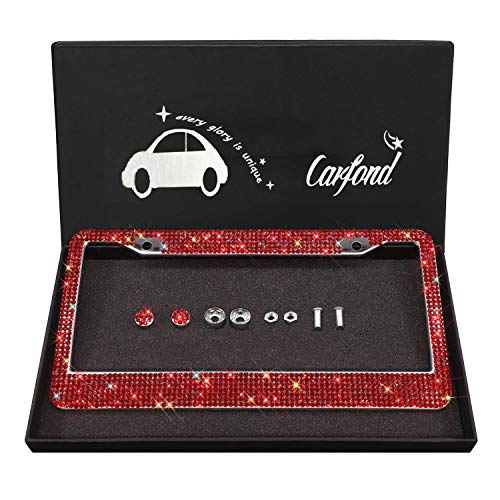 Carfond 7 Row Handcrafted 1000+ pcs Finest 14 Facets SS20 Premium Glass Crystal Diamond Stainless Steel License Plate Frame Bonus Matching Screws Caps (Red Crystal)