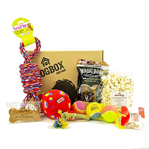 Dogbox Boutique The Birthday Dog Gifts Box Doggy Hamper Perfect For Dog Birthday, Xmas Or A Monthly Treat - Bursting Dog Treats, Toys And Accessories