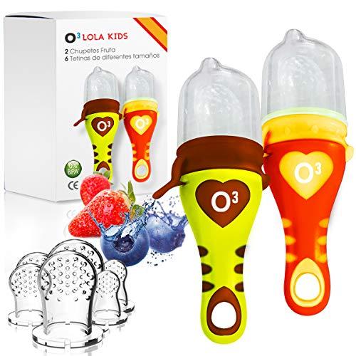 O³ Chupete Fruta Bebe - 2 & 6 Tetinas- Alimentador Antiahogo Bebe -Verde/Naranja