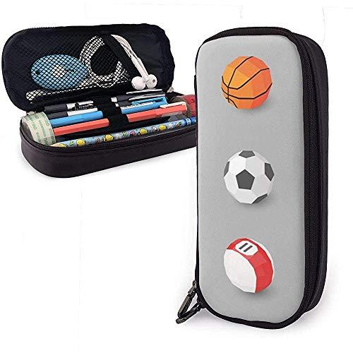 Verschiedene Ballsportarten PU-Leder Federmäppchen, Federbeutel, langlebige Organizer mit doppeltem Reißverschluss 20 * 9 * 4 cm (8X3,5X1,5 Zoll)
