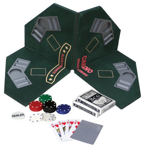 Tappeto da Poker e Black Jack con fiches e Carte [Importato dalla Germania]