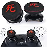 Playrealm FPS Thumbstick Extender & Printing Rubber Silicone Grip Cover 2 Sets for PS5 Dualsenese & PS4 Controller (Death of Kanji)