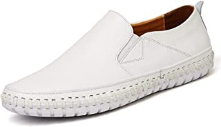 Driving Loafer For Men Casual Shoes Slip On Elastic Band Genuine Leather Sewing Thread Lightweight Anti Slip Flat Chic Classic` Tussy (Color : White, Size : 50 EU)