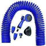 Suinga. Manguera de riego en Espiral Helicoidal 15 Metros. Manguera Jardin Reforzada Color Azul. Incluye Accesorios y Soporte Pared. Pistola multifunción 8 Posiciones.