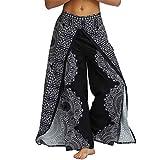 Nuofengkudu Mujer Hippie Largo Pantalones Dividir Pata Ancha Flores Estampados Sueltos Elegantes Comodos Thai Yoga Pants Verano Playa Vacaciones(Negro Floral A,S/M)
