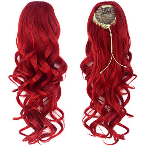 """iCos Unisex 20"""" 150G Women Synthetic Long Curly Hair Extensions Hairpieces Drawstring Ponytail (Red)"""