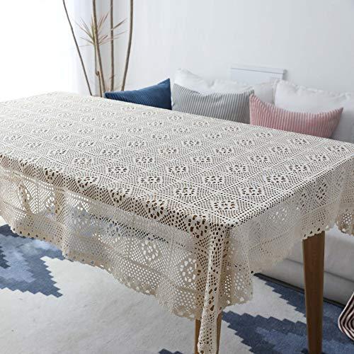 Marca blanca Mantel de casa hecho a mano Crochet Cover Toalla de Algodón Hueco Mantel de Piano Toalla Negro/Blanco 100x140cm, Beige-1, 140*140
