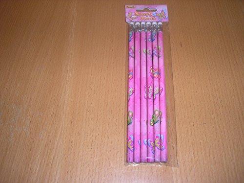 6 Papillon Crayons à papier avec embout gomme – pour enfants fête Butin Sac jouet