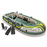 Intex Seahawk 3, 3-Person Inflatable Boat Set with Aluminum Oars and High Output Air -Pump (Latest...