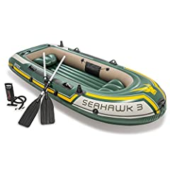 Whether you're fishing, relaxing, or rowing on the Lake, the Seahawk 3 inflatable boat is great for making your boating experience exciting and entertaining Designed with heavy duty, puncture resistant PVC for comfort and durability, and an inflatabl...