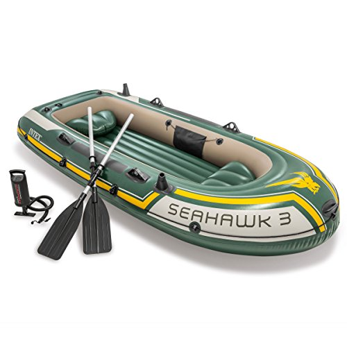 Intex Seahawk 3, 3-Person Inflatable Boat Set With Aluminum Oars and High Output Air Pump (Latest Model)