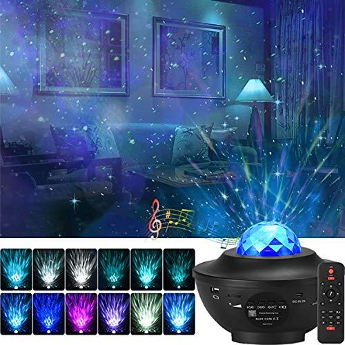 Sterne Projektor Lampe, LED Wasserwelle Sternenhimmel Projektor Lampe mit Fernbedienung und Timer Eingebauter BT-5.0 Musiklautsprecher Geschenke für Geburtstagsfeier Hochzeit Schlafzimmer Wohnzimmer