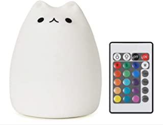 Cat Lamp, 16 Colors Remote Control Silicone Cute Kitty Night Light for Kids Toddler Baby Girls Bedroom