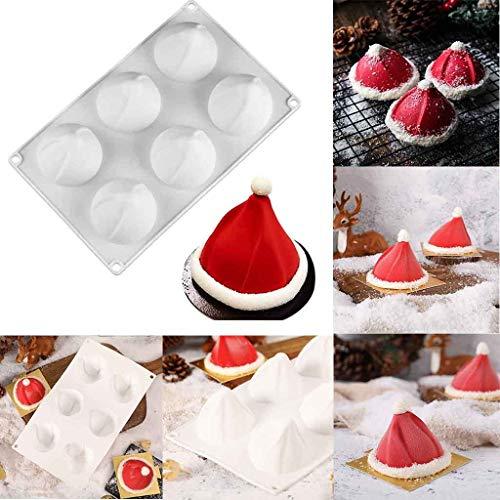 Yncc Moule à Cake Chapeau de Noël, Forme de Chapeau Noël pour la Décoration de gâteaux, Cuisson au Four, Fabrication de Bonbons, Chocolat, Cupcake, Couvercles, Bougie de Savon DIY