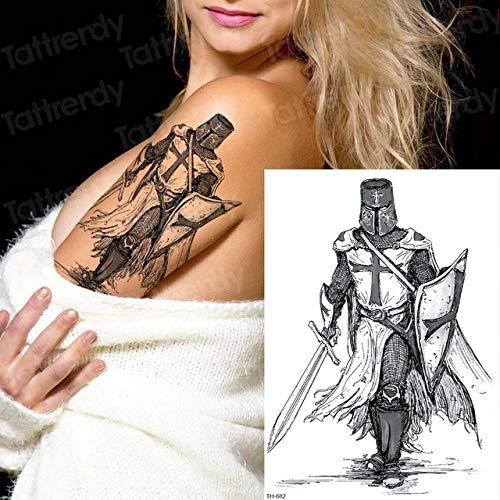 adgkitb 3 Piezas Tatuajes japoneses de Samurai bocetos Negros diseños de Tatuajes Tatuajes temporales para Hombres Brazo Manga Hombro Tatuaje Temporal Pegatina TH682 21x15 cm