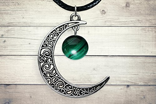 Malachite Silver Celtic Moon Pendant Green Stone