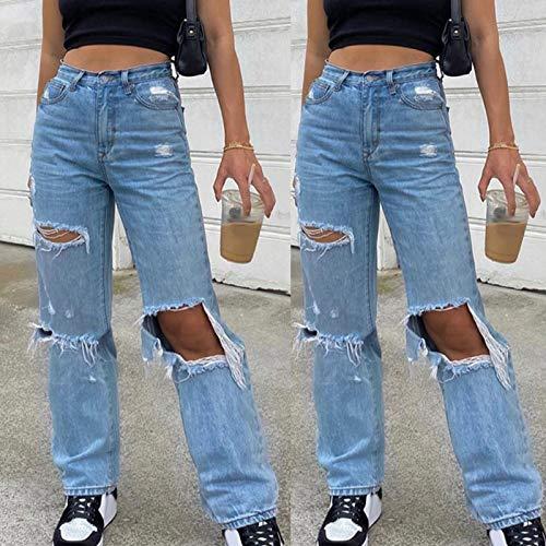 FOTBIMK Pantalones vaqueros para mujer, botones de cintura alta, bolsillo elástico, agujeros, pantalones vaqueros sueltos, pantalones para mujer