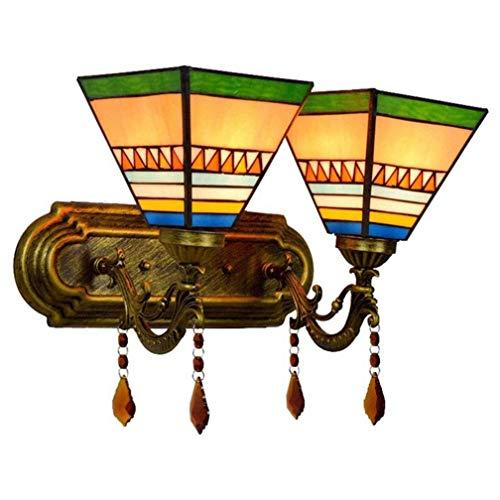 DALUXE E27 Tiffany Style Lámpara de Pared, lámpara de Pared de Loros para baños 36 cm, decoración de la Pared del Dormitorio, lámpara de Espejo, luminaria de baño, lámpara de Escalera, 2 Llamas