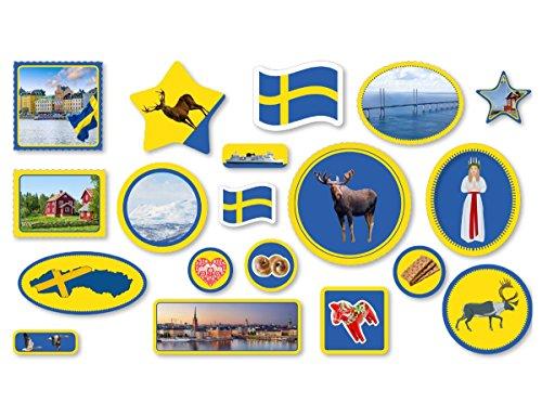XXL-Großkonfetti * SCHWEDEN * mit 57 großen Konfetti-Teilen für eine Motto-Party oder Länder-Party // Sweden Skandinavien Kinder Kindergeburtstag Deko Motto