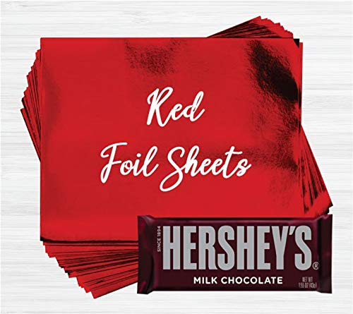 Red Shiny Candy Bar Wrapper Foil Sheets for Over Wrapping Hershey's Chocolate Bars - 40 Sheets