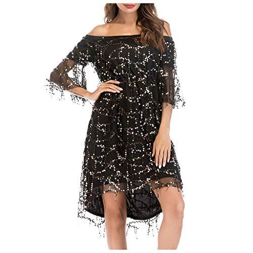 Luotuo Abendkleider Damen Elegant Schulterfrei Kleider mit Auffällige Pailletten verziert Knielänge Kurzarm Glänzend Paillettenkleid