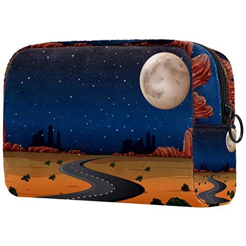 Bolsa de cosméticos de viaje grande para mujer – Neceser de viaje y maquillaje cosmético bolsa con muchos bolsillos, paisaje