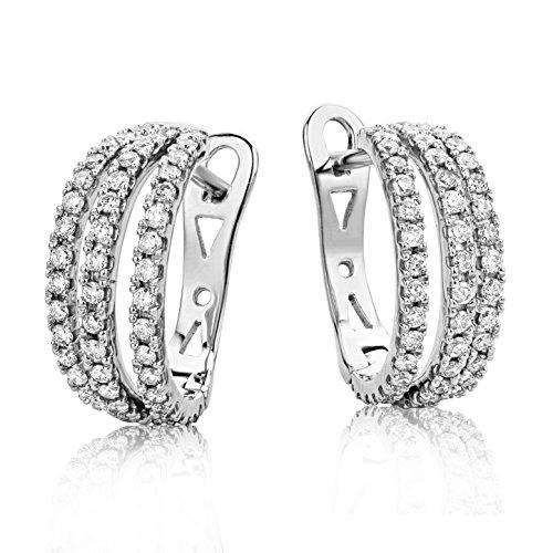 Miore Ohrringe Damen 0.6 Ct Diamant Creolen aus Weißgold 18 Karat / 750 Gold, Ohrschmuck mit Diamanten Brillianten