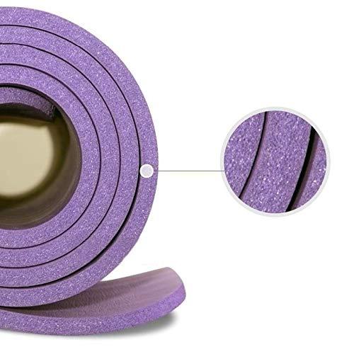 weichuang Esterilla de yoga de 10 mm, suave, antideslizante, para ejercicios en casa, gimnasio, pilates, culturismo, fitness, colchoneta con cinturón (morado)