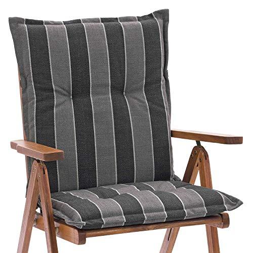 Sun Garden 2 Stück Niedriglehnerauflagen Portland Maße: ca. 98x49x6 cm Dessin 20540-610 Grau/Anthrazit gestreift Leinenoptik …(nur Auflagen ohne Stuhl)