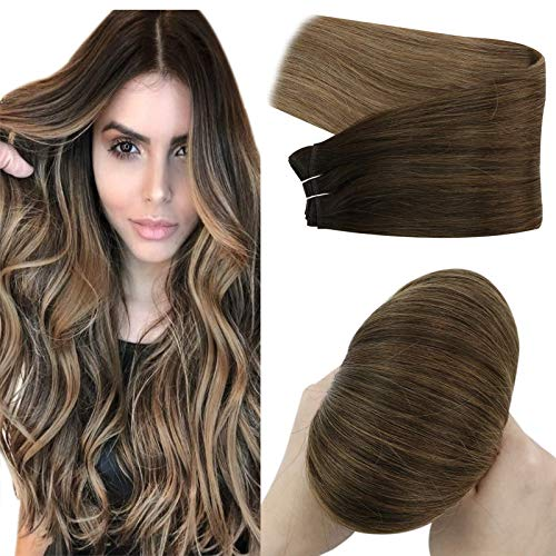 YoungSee Brown Weft Hair Extensions Human Hair Dark Brown to Dark Ash Blonde with Lightest Brown Hair Extensions Weft Human Hair Real Hair Extensions Sew in Hand Tied Hair Extensions 24inch 100grams