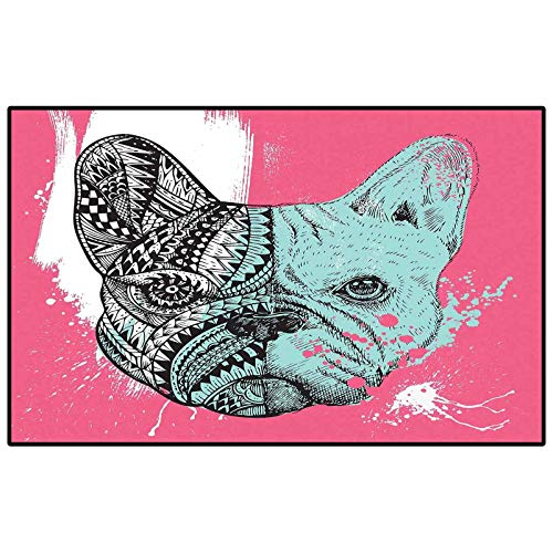 Kids Outdoor Rugs for patios Outdoor Area Rug Modern,French Bulldog Split with and Paintbrush Vivid Artwork Print,Pink Seafoam Black White Childs for Living Room Bench Kids Princess Room Decor