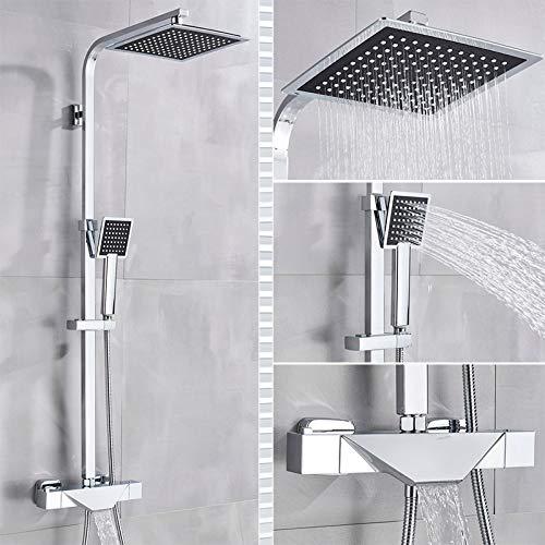 PLUIEX Sistema de Ducha Grifo termostático de baño Grifo de Ducha Negro Cabezal de Ducha Tipo Lluvia Cabezal de Ducha montado en la Pared Grifo Mezclador de bañera Juego de Ducha controlado por Term