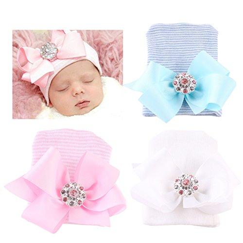 DRESHOW BQUBO 3 Pack Newborn Hospital Hat Infant Baby Hat Cap Big Bow Nursery Beanie