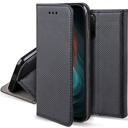 Moozy Hülle Flip Hülle für Sony Xperia 10 II, Schwarz - Dünne Magnetische Klapphülle Handyhülle mit Kartenfach & Standfunktion